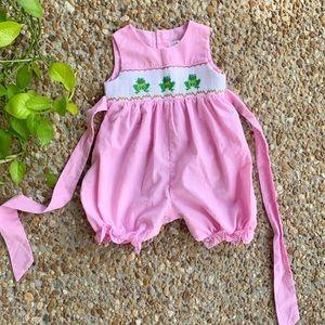 Baby Girl Pink Frog Embroidered Smocked Romper 12